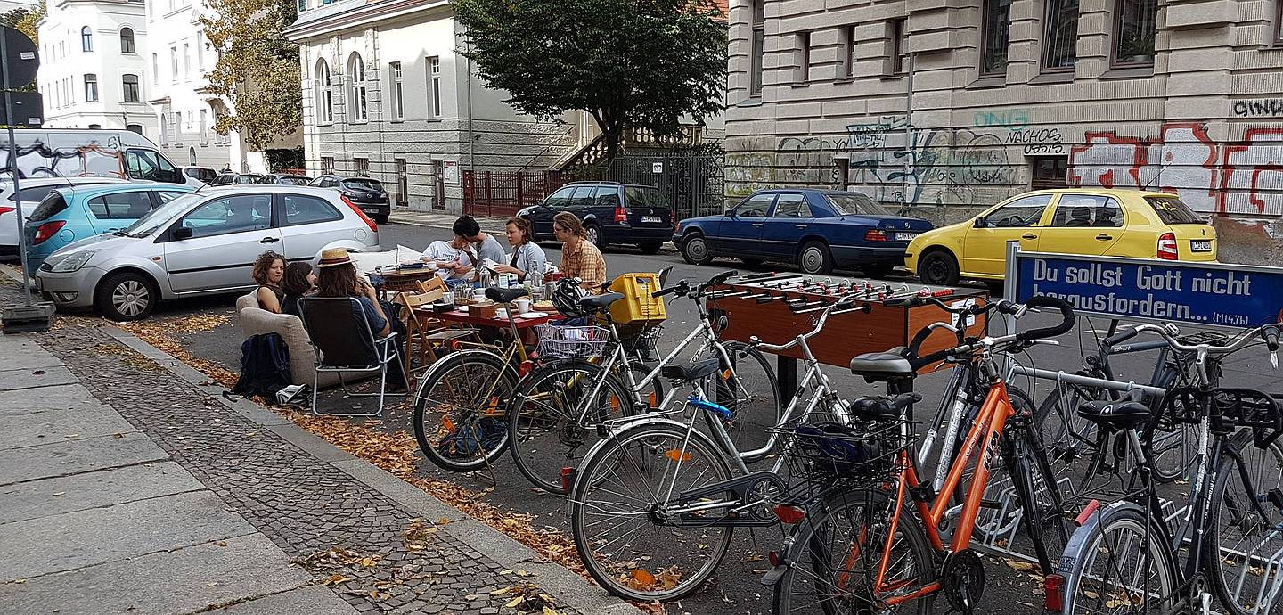Protest beim Parking Day 2018.